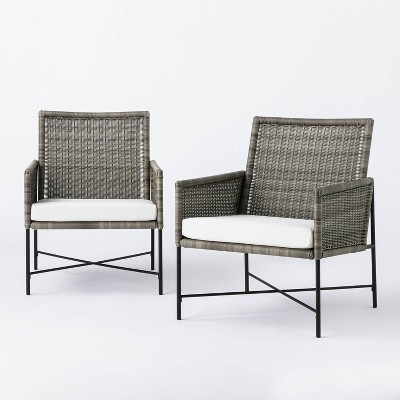 2pk Wicker & Metal X Frame Patio Accent Chairs - Gray  - Threshold™ designed with Studio McGee