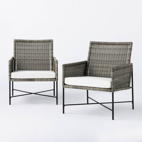 2pk Wicker & Metal X Frame Patio Accent Chairs - Gray  - Threshold™ designed with Studio McGee - image 1 of 4