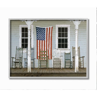 Stupell Industries Distressed Rocking Chair Porch Americana Realistic Painting