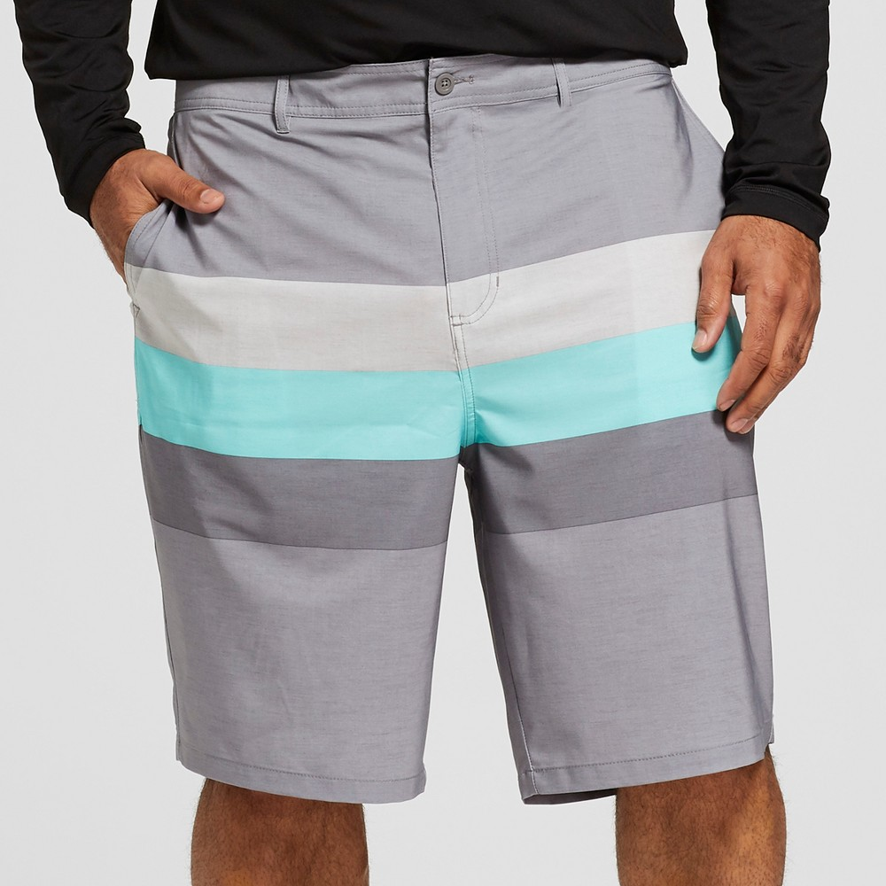 "Image of ""Men's Big & Tall Striped 10.5"""" Triton Hybrid Swim Shorts - Goodfellow & Co Gray 56"""