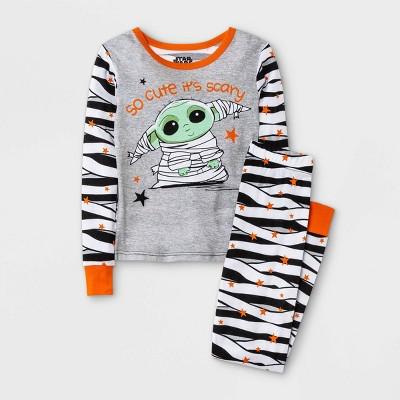 Girls' Star Wars Baby Yoda Halloween 2pc Pajama Set - Gray/Black/White