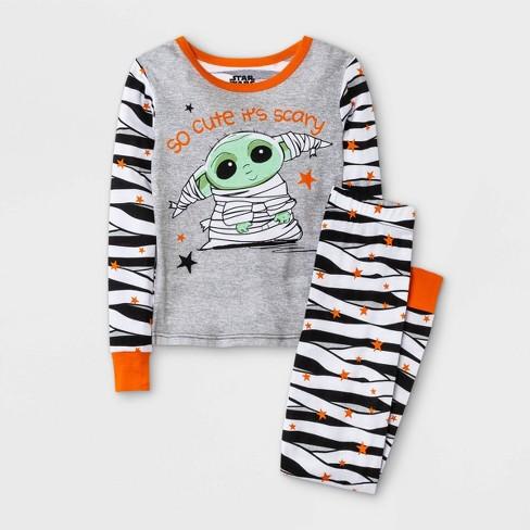 Girls' Star Wars Baby Yoda Halloween 2pc Pajama Set - Gray/Black/White - image 1 of 3