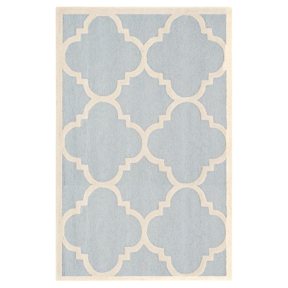 Landon Texture Wool Rug - Light Blue / Ivory (5' X 8') - Safavieh, Light Blue/Ivory