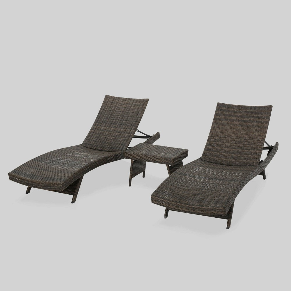 Thira 3pc Wicker Chaise Lounge Set Mocha (Brown) - Christopher Knight Home