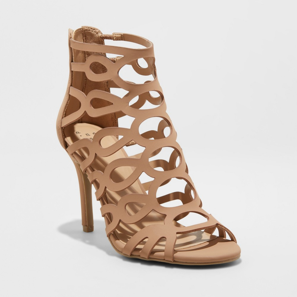 Women's Jillian Caged Heel Pumps - A New Day Taupe (Brown) 5