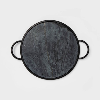 "17"" x 1.2"" Round Marble Tray Black - Project 62™"