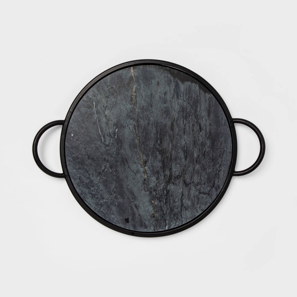 """Image of """"17"""""""" x 1.2"""""""" Round Marble Tray Black - Project 62"""""""