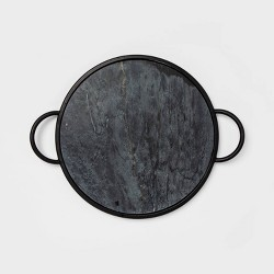 """17"""" x 1.2"""" Round Marble Tray Black - Project 62™"""