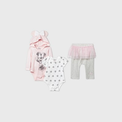 Baby Girls' 3pk Minnie Mouse Bodysuit and Tutu Leggings Set - Pink