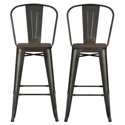 "Set Of 2 30"" Lio Metal Barstools With Wood Seat - Room & Joy : Target"