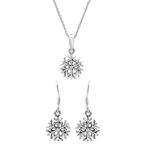 Women S Journee Collection Snowflake Earrings And Necklace Set In Sterling Silver