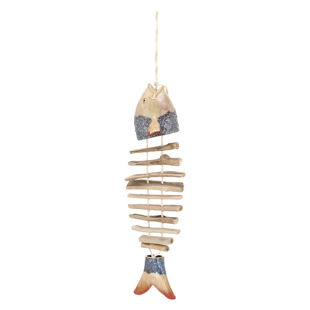 38H Wood Wind Chime - Olivia & May, Multi-Colored