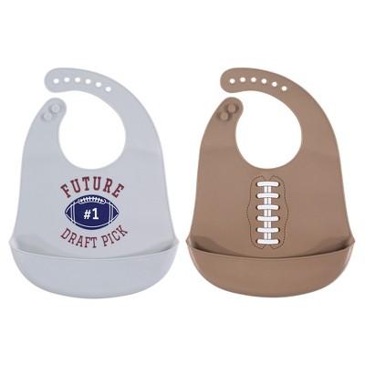 Hudson Baby Infant Boy Silicone Bibs 2pk, Football, One Size