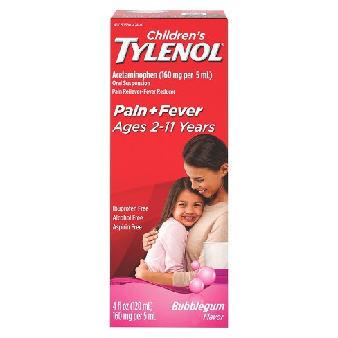 Children's Tylenol Pain + Fever Relief Liquid - Acetaminophen - Bubble Gum - 4 fl oz - image 1 of 4