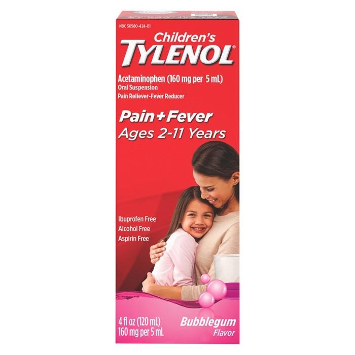 Children's Tylenol Pain + Fever Relief Liquid - Acetaminophen - Bubble Gum - 4 fl oz - image 1 of 5