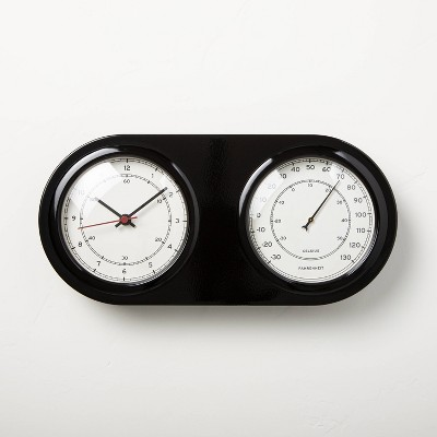 Wall or Tabletop Clock & Thermometer Black - Hearth & Hand™ with Magnolia