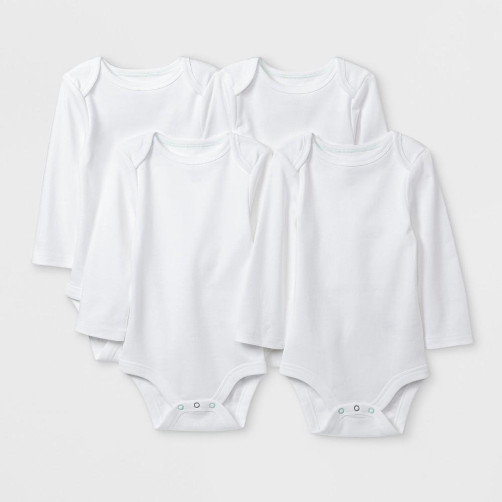Image of Baby Basic 4pk Long Sleeve Bodysuit - Cloud Island White 0-3M, Kids Unisex
