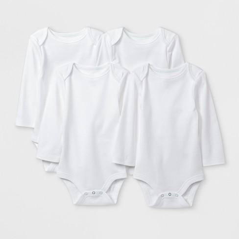 Baby Boys' Basic 4pk Long Sleeve Bodysuit - Cloud Island™ White - image 1 of 1