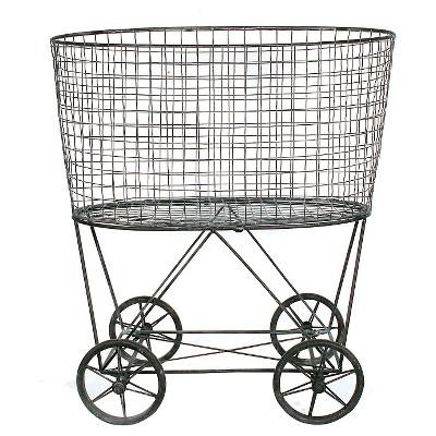Metal Vintage Laundry Basket with Wheels - 3R Studios