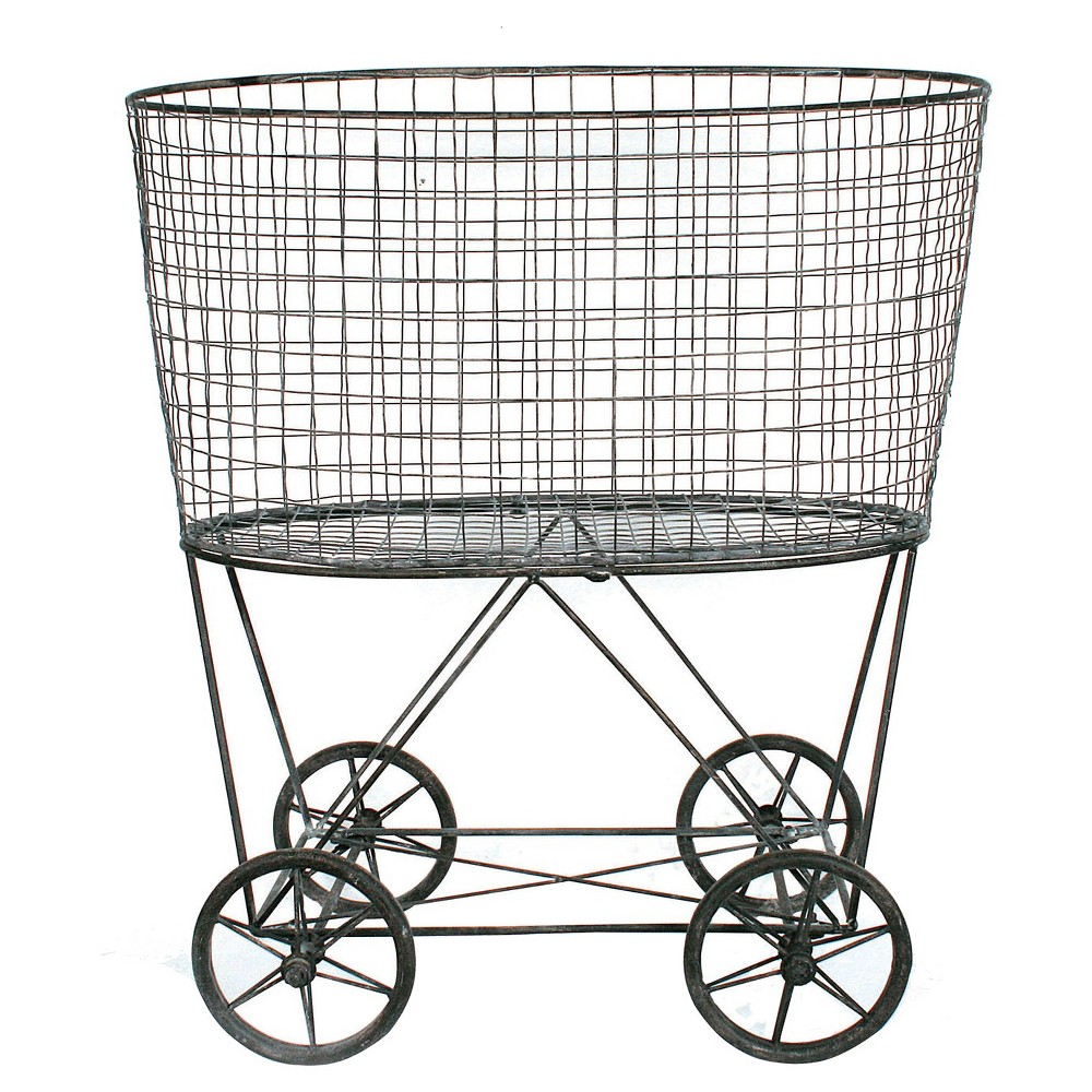 Image of Metal Vintage Laundry Basket with Wheels, Multi-Colored