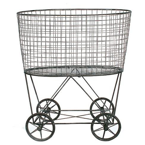 Metal Vintage Laundry Basket with Wheels - 3R Studios - image 1 of 3