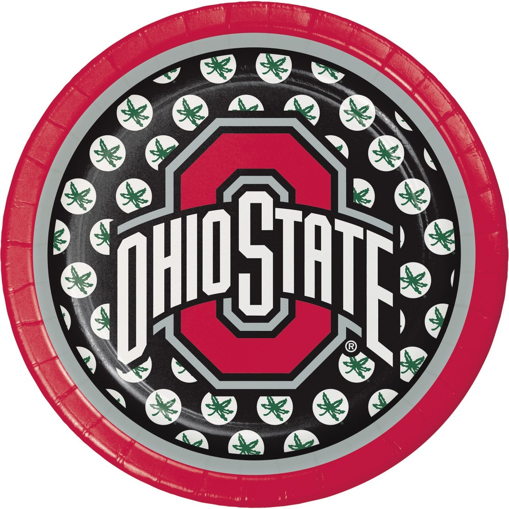 Image of 24ct Ohio State Buckeyes Dessert Plates Red