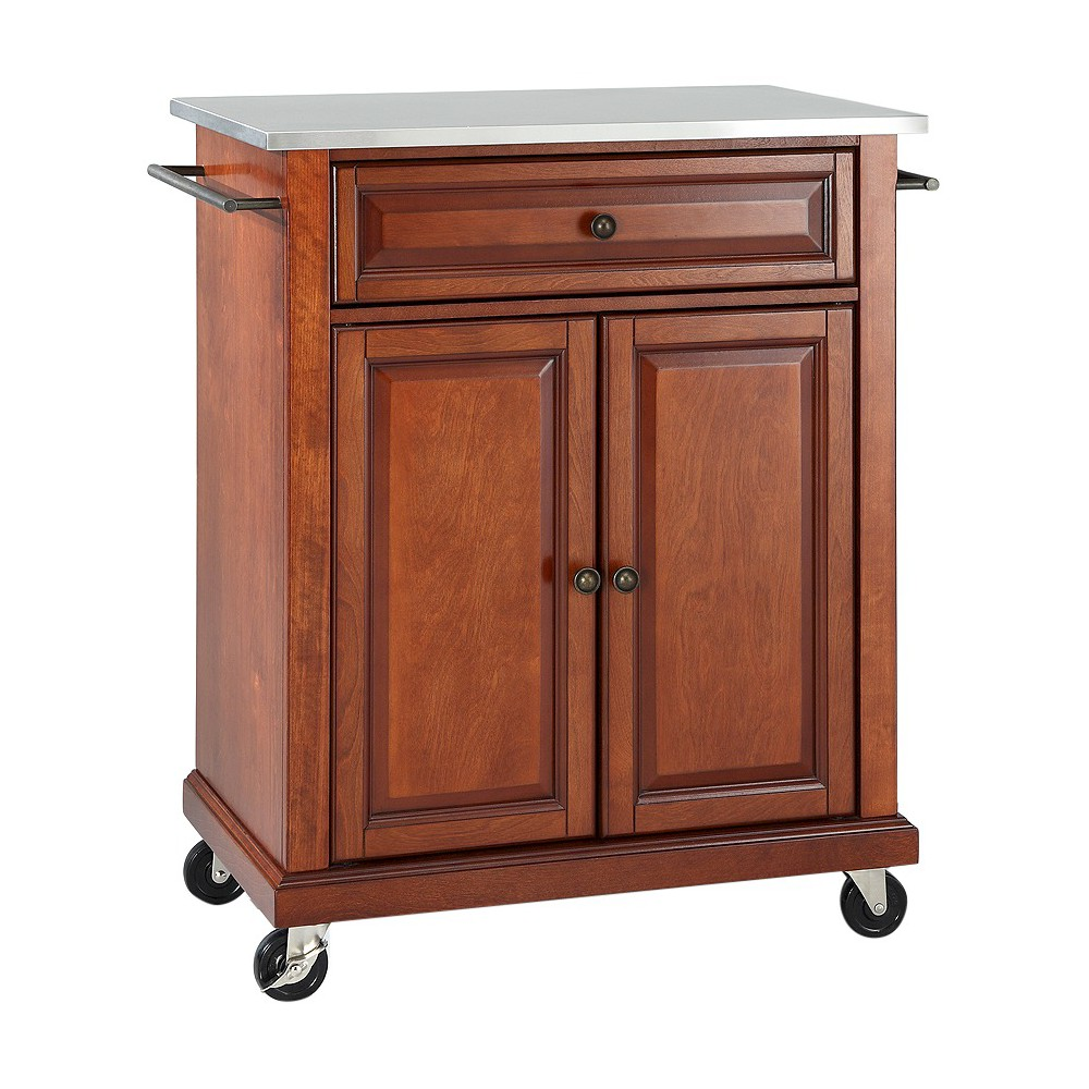 Stainless Steel Top Portable Kitchen Cart/Island - Classic Cherry (Red) - Crosley