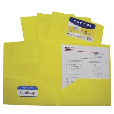 C-Line Poly Portfolio Folders, Letter, 2-Pocket, Yellow, pk of 25