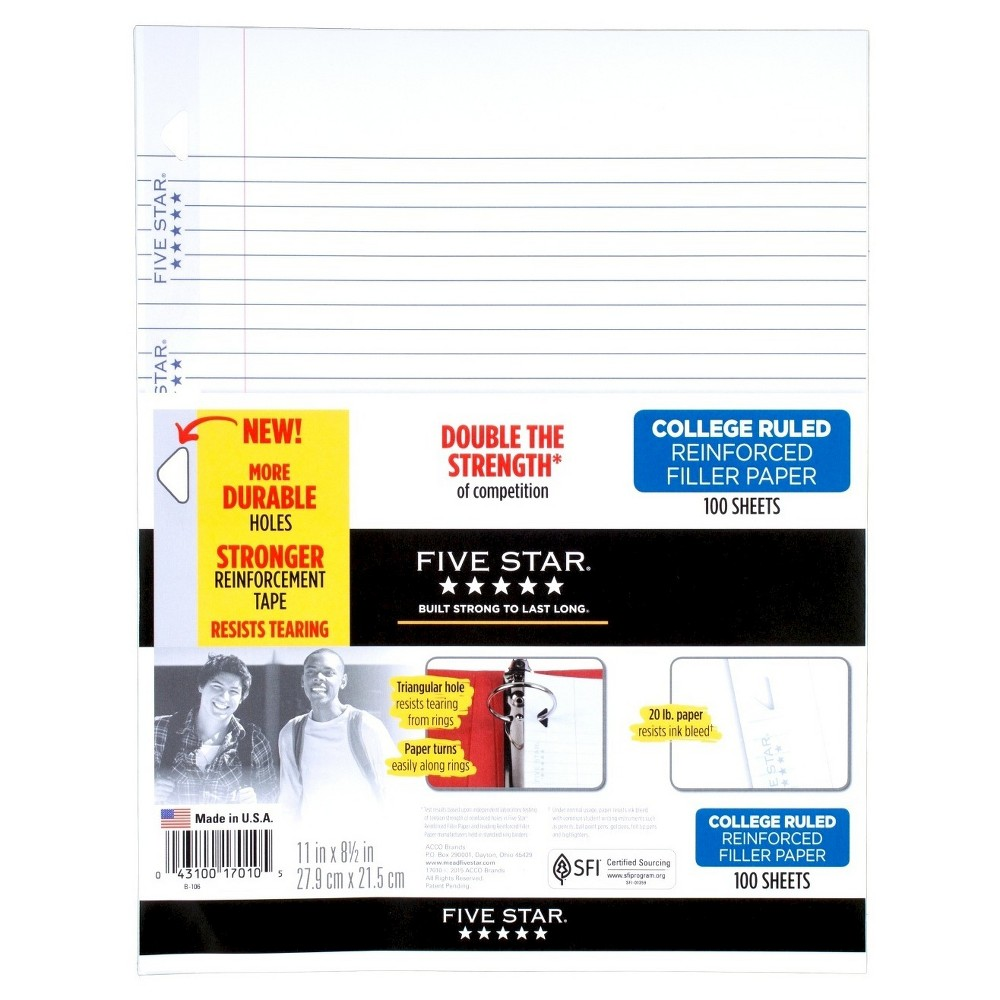 Five Star Filler Paper College Ruled Reinforced 100ct, White