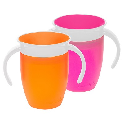 Munchkin 2pk Miracle 360 Pink/Orange Trainer Cup 7oz