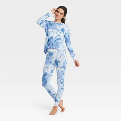 Women's Tie-Dye Cozy Long Sleeve Top and Leggings Pajama Set - Stars Above™ Blue