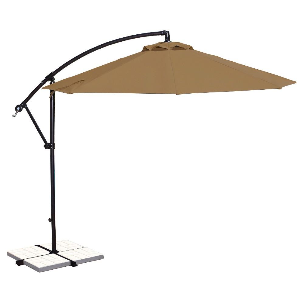 Image of Island Umbrella Santiago 10' Octagonal Cantilever Umbrella in Stone (Grey) Sunbrella