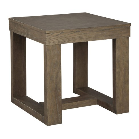 Wooden Frame End Table With Trestle Base Brown Benzara Target