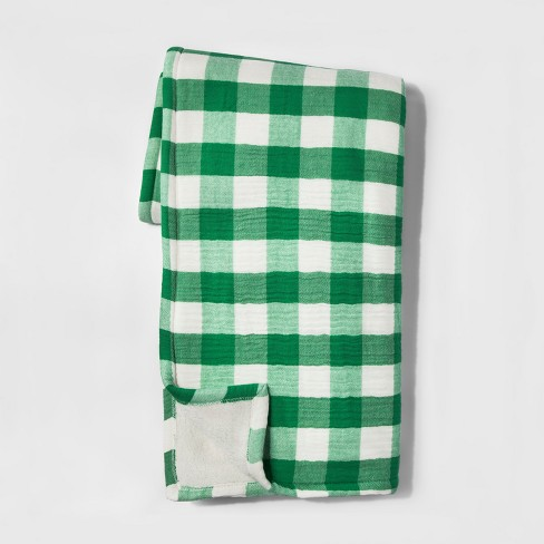 Gingham with Sherpa Throw Blanket - Threshold™ - image 1 of 1