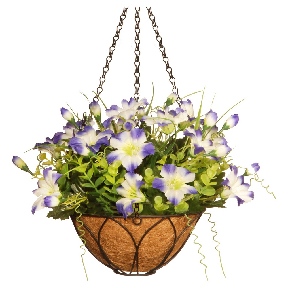 Petunia Flowers Artificial Hanging Basket Purple 13 - National Tree Company