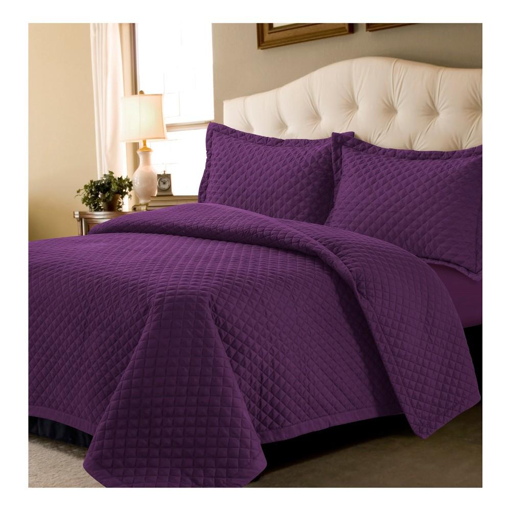 Image of Purple Brisbane Solid Oversized Diamond Quilt Set (Full/Queen) - Tribeca Living