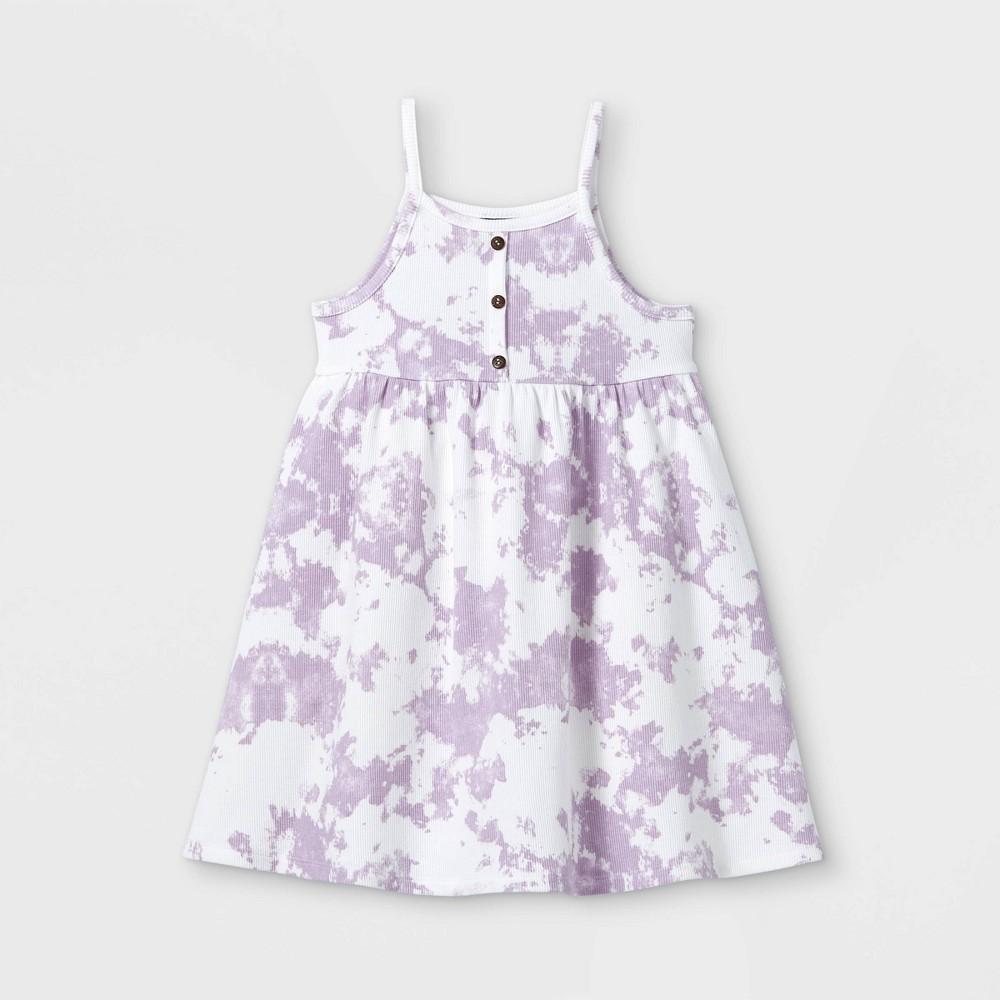 Toddler Girls 39 Rib Henley Tank Dress Art Class 8482 Purple 4t