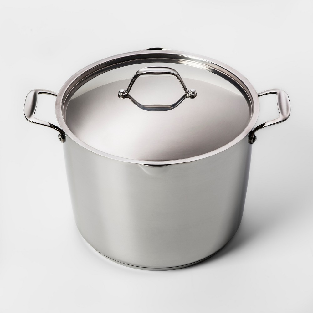 Image of 12qt Stainless Steel Stock Pot with Lid - Made By Design , Silver