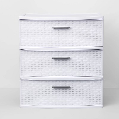 3 Drawer Wide Weave Tower White - Room Essentials™