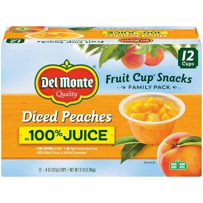 Del Monte Diced Peaches Fruit Cups  in 100% Juice - 12ct/4oz