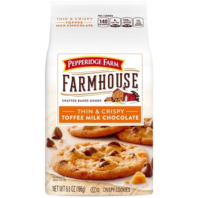 Pepperidge Farm Farmhouse Thin & Crispy Toffee Milk Chocolate Cookies, 6.9oz Bag