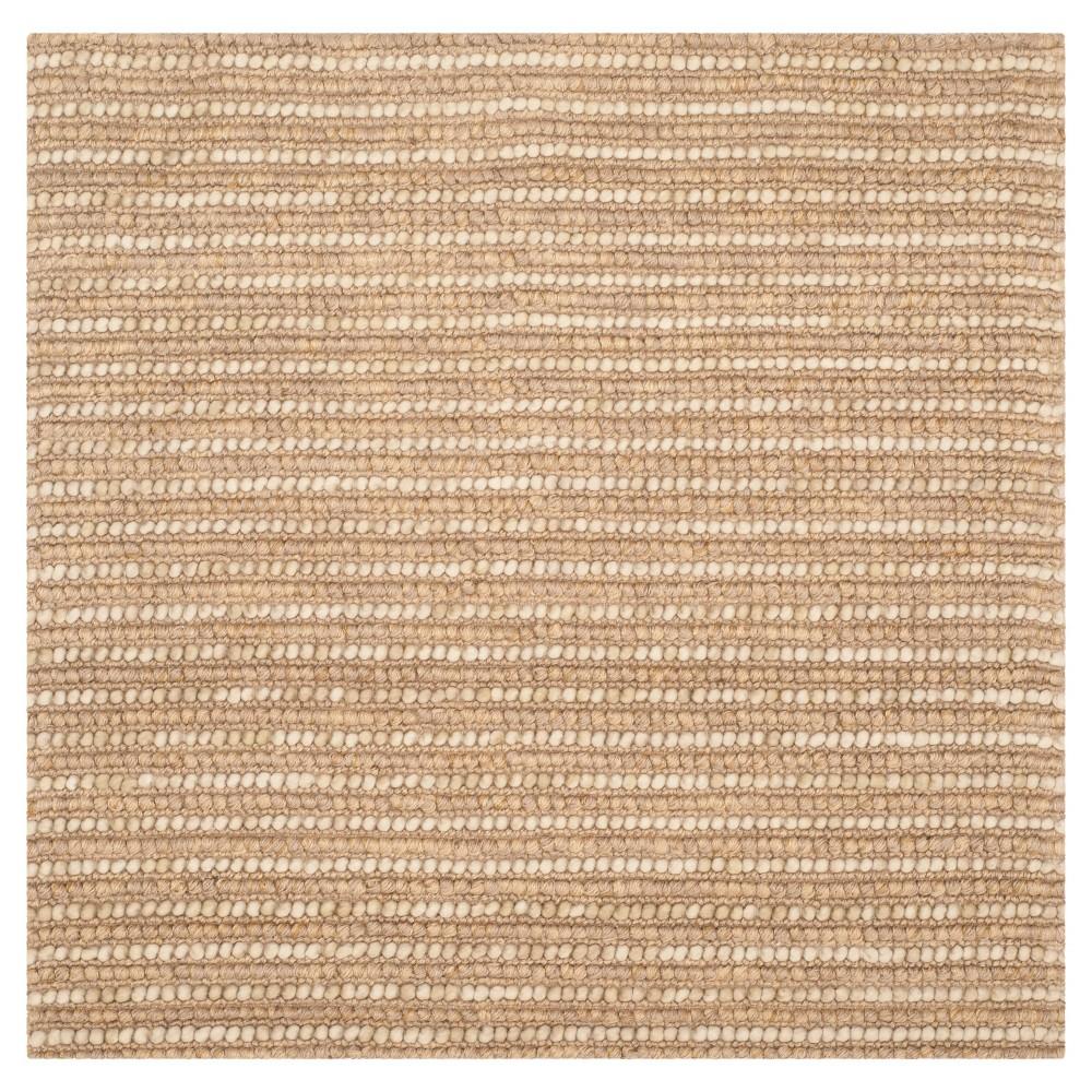 Beige/Multi Stripes Loomed Square Area Rug - (8'X8') - Safavieh, Beige/Multicolor