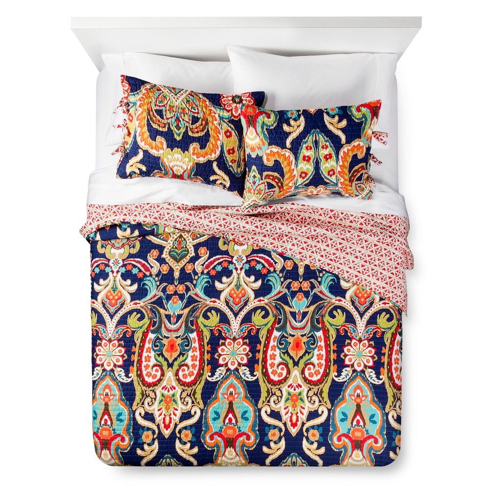 Image of Almeria Quilt and Sham Set (King) Blue 3pc - Mudhut