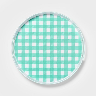"15"" Melamine Gingham Round Serving Tray - Sun Squad™"