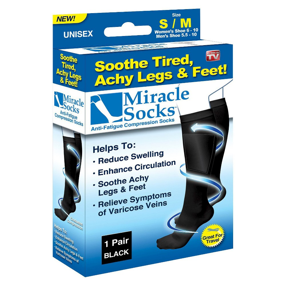 Image of As Seen on TV Miracle Socks Anti-Fatigue Compression Socks - Black L/XL, Size: Large/XL