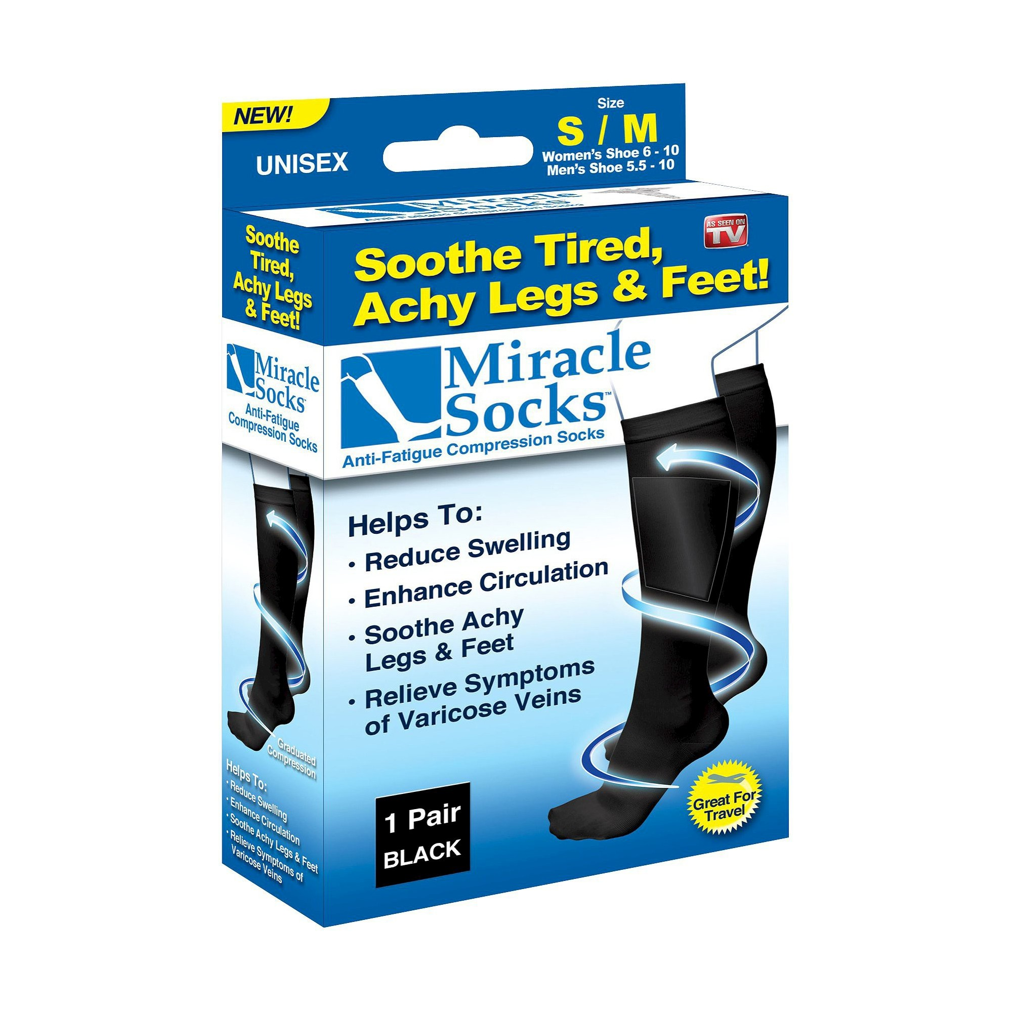 As Seen on TV Miracle Socks Anti-Fatigue Compression Socks - Black S/M, Size: Small/Medium
