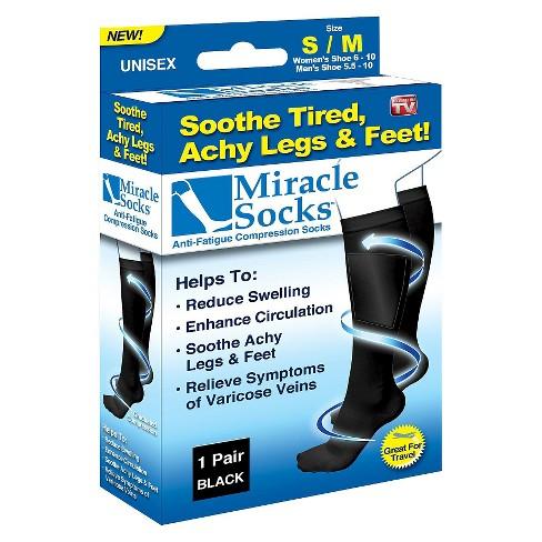 As Seen On TV® Miracle Socks Anti-Fatigue Compression Socks - Black : Target