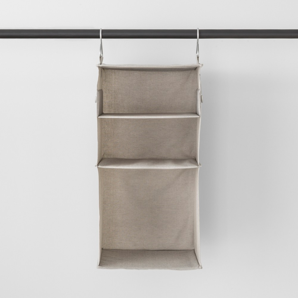 Image of 3 Shelf Hanging Fabric Storage Organizer Light Gray - Made By Design