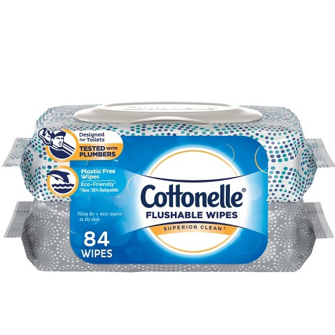 Cottonelle Superior Clean Flushable Wipes - 2pk/84ct - image 1 of 4