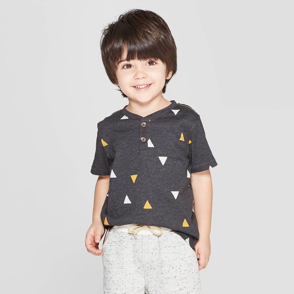 Genuine Kids from OshKosh Toddler Boys' Short Sleeve Printed Henley Shirt - Black 4T